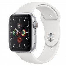 Apple Watch Series 5 GPS 44mm Silver Aluminum Case Sport Band White